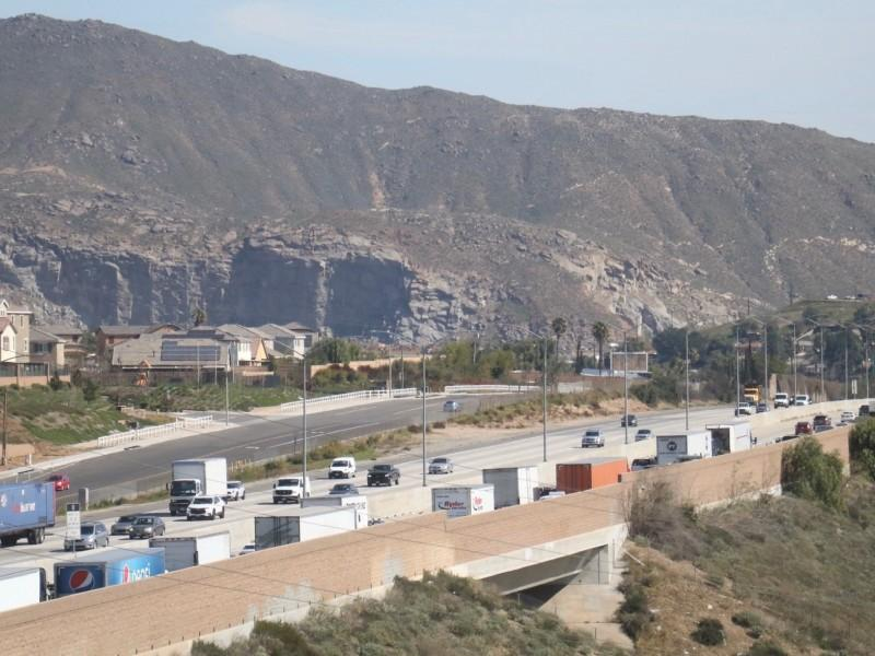 The 60 freeway runs through Jurupa Valley, California, near the offices of the Center for Community Action and Environmental Justice.