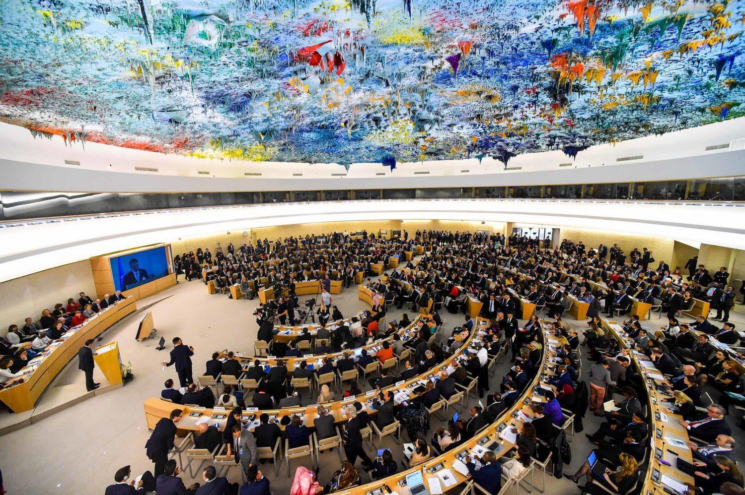 Overhead photo of a February 2020 meeting of the United Nations Human Rights Council in Geneva, Switzerland.