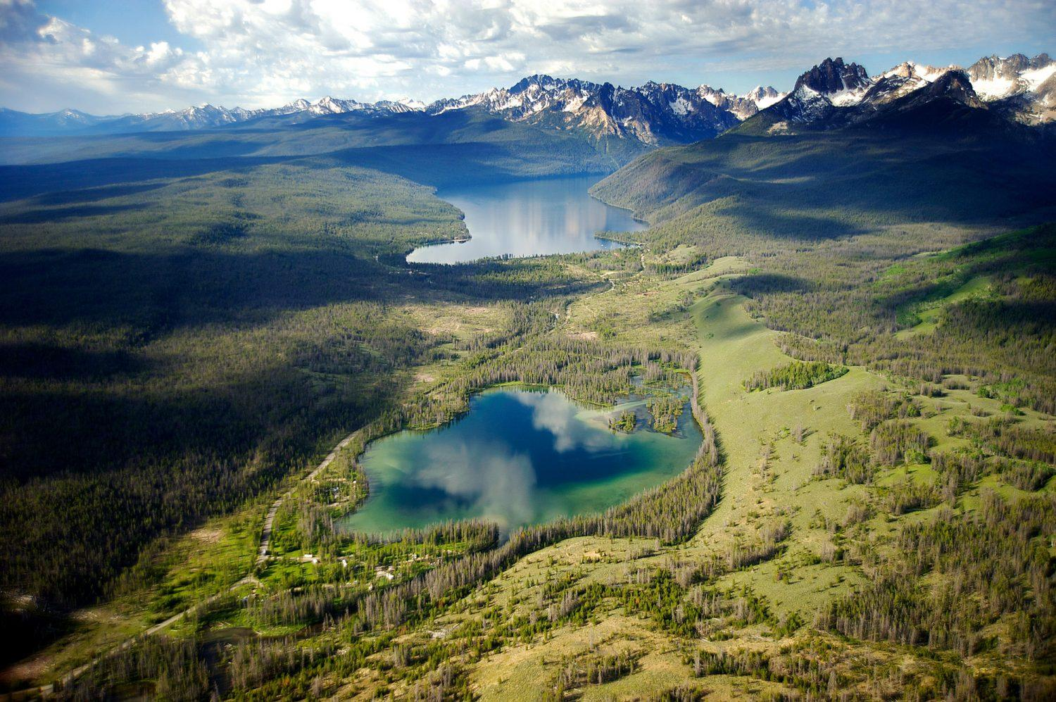 Redfish Lake and Little Redfish Lake lie in Idaho's Sawtooth National Recreation Area.