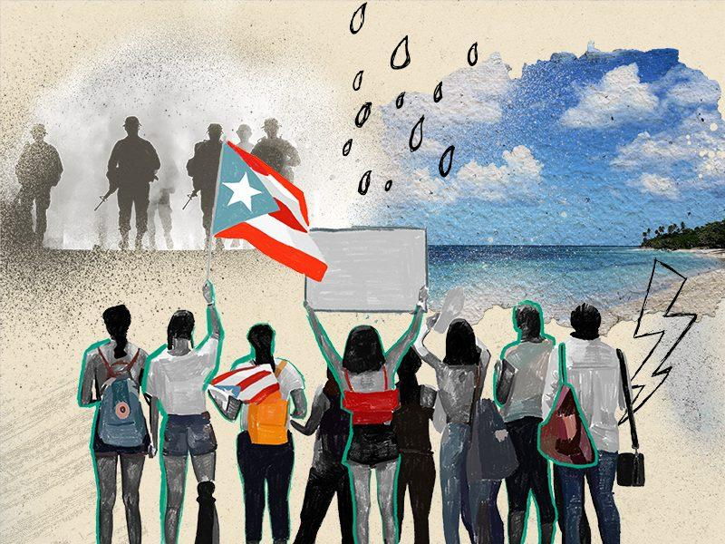 Illustration of protestors waving a Puerto Rican flag facing the dark silhouette of armed police to the left and a beach shoreline to the right.