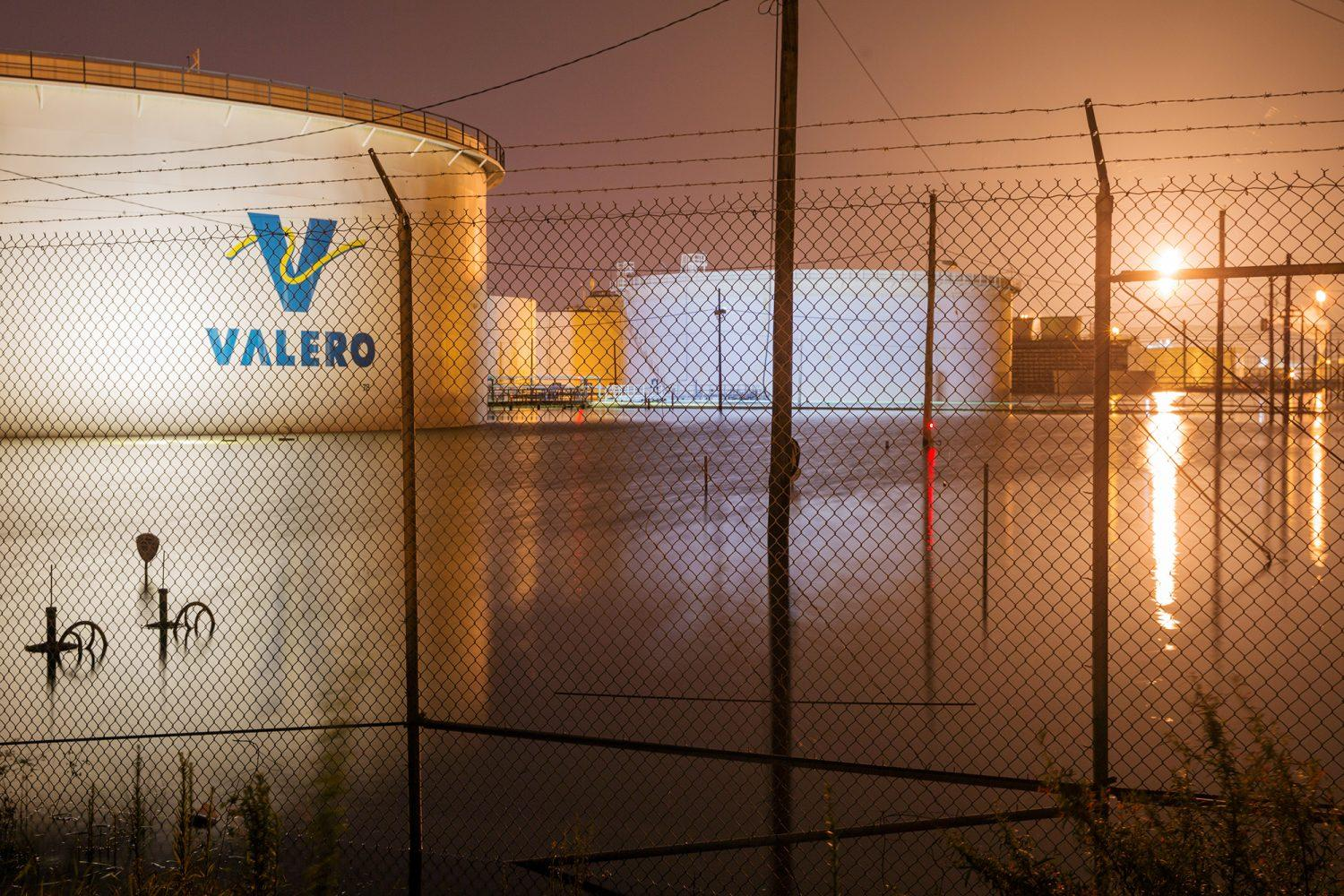 Photo of the Valero oil refinery in Port Arthur, Texas, flooded by Hurricane Harvey in 2017.