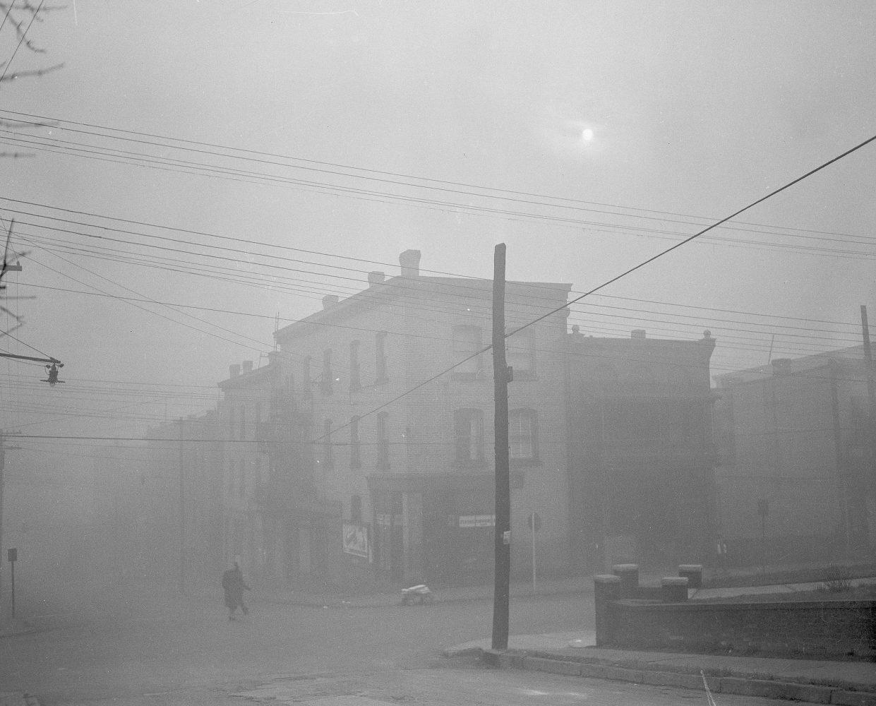 Low-hanging pollution nearly blocks out the sun in Donora, PA, on Oct. 30, 1948.
