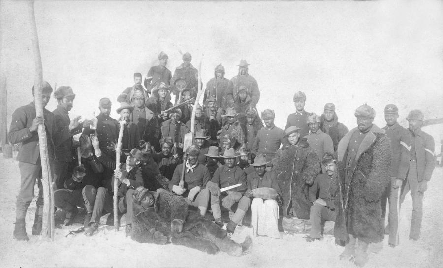Archival photo of the Buffalo Soldiers of the 25th Infantry at Fort Keogh, Mont. On Dec. 14, 1890.