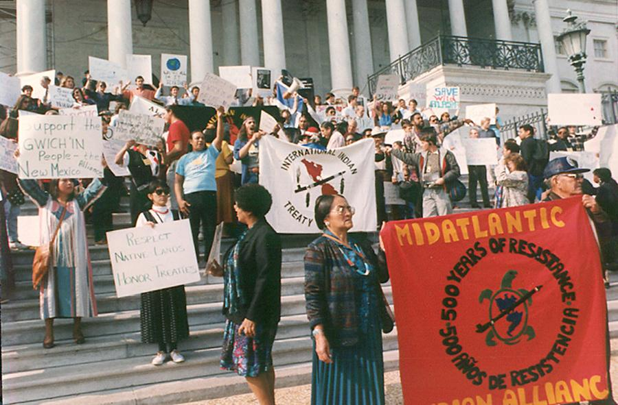 Participants in the First National People of Color Leadership Summit hold a rally at the U.S. Capitol in Washington, D.C., in 1991.