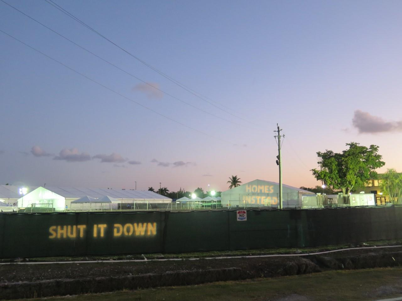 Photo of Homestead Detention Center with the words