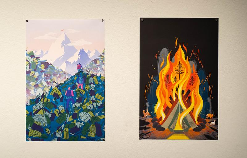 two digital images, one of a backpacker hiking on mounds of pollution toward Mount Everest, and the other a forest ablaze in a single campfire