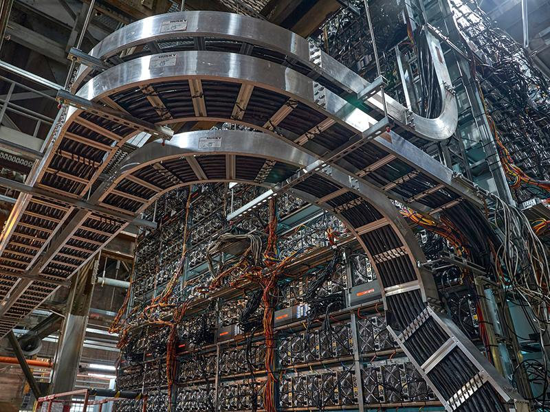 Greenidge Generation's bitcoin mining operation at their power plant in New York State.