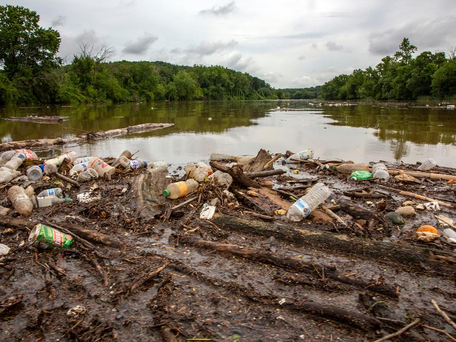 Polluted Anacostia River. Plastic bottles, aluminum cans, human trash piled on muddy bank. Brown water in the river. Lush greenery along the sides of the river.