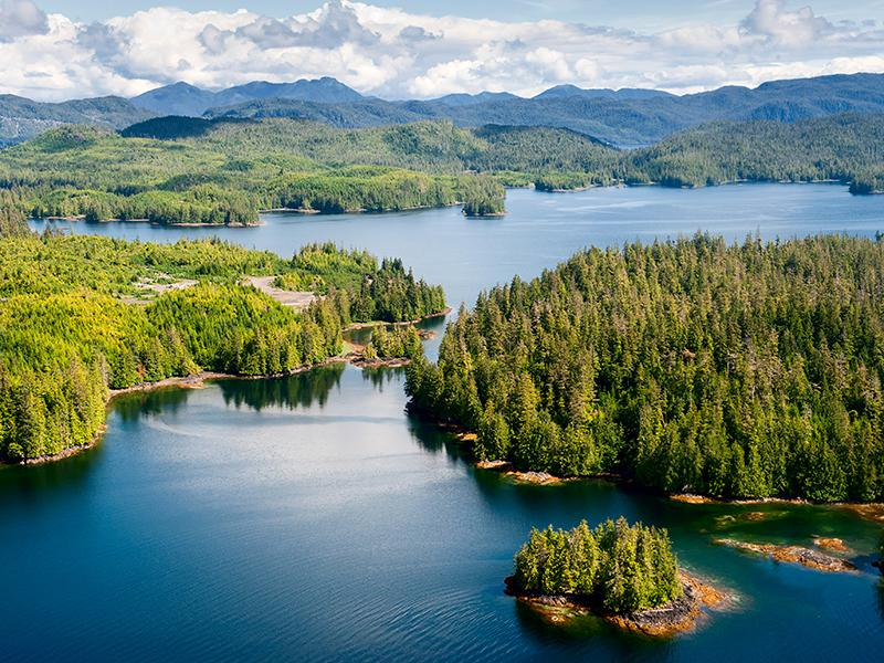 Aerial view of Prince of Wales Island, part of the Tongass National Forest in Alaska. Tall green trees surrounded by blue water. Hillsides in the back. White clouds in the sky.