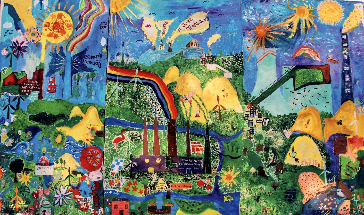 Our Ecopolis, acrylic on canvas mural in Gary, Indiana, 2018. Created by students at Steel City Academy, Kankakee Valley High School, Progressive Community Church of Gary and First Presbyterian Church of Michigan City.