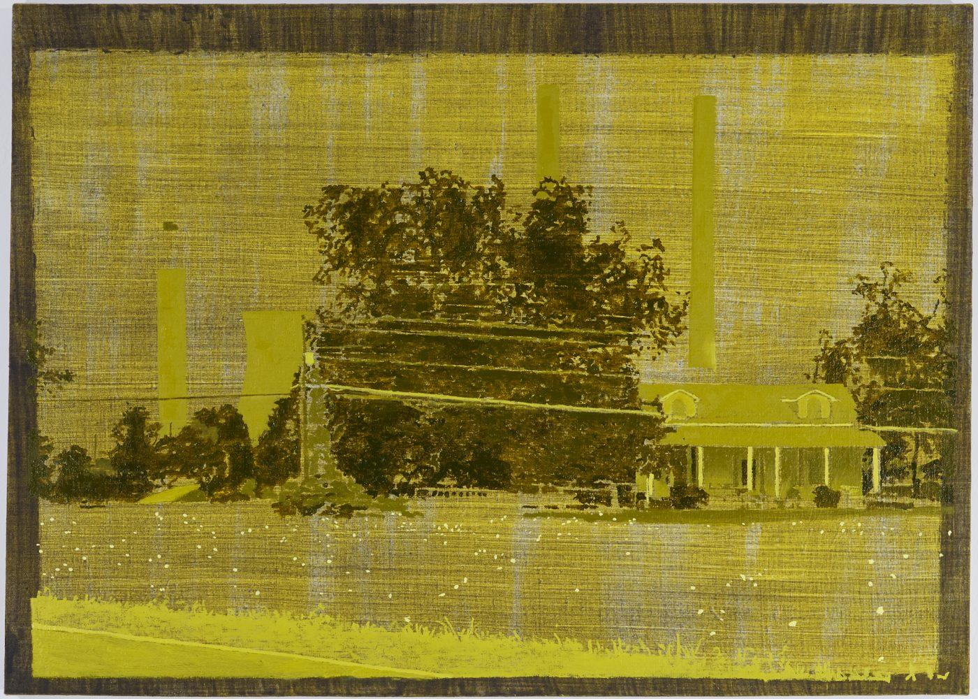 Plant Bowen,Euharlee, Georgia(tobacco fields),20.25 by 28.25 in,oil, ash, and acrylic on linen, 2017.
