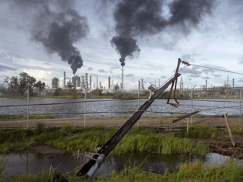 Hurricane Ida toppled these power lines near a petroleum refinery outside LaPlace, Louisiana. Ida's eastern wall went right over LaPlace, inflicting heavy damage on the area.